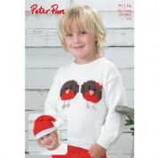 Peter Pan Childrens Christmas Sweater & Hat Knitting Pattern 1174  DK
