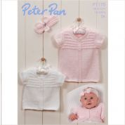 Peter Pan Baby Cardigans & Headband Knitting Pattern 1175  DK
