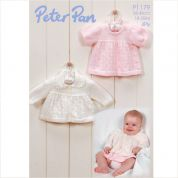 Peter Pan Baby Matinee Coat & Dress Knitting Pattern 1179  4 Ply