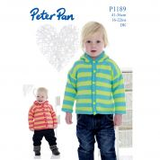Peter Pan Baby Hooded Cardigan Knitting Pattern 1189  DK