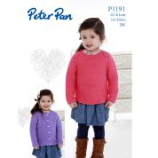Peter Pan Girls Sweater & Cardigan Knitting Pattern 1191  DK