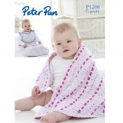 Peter Pan Baby Snuggle Bag & Shawl Cupcake Knitting Pattern 1206  DK