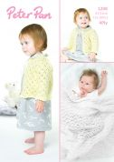 Peter Pan Baby Jacket & Shawl Knitting Pattern 1208  4 Ply