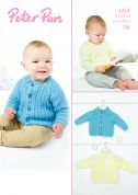 Peter Pan Baby Cardigan & Sweater Knitting Pattern 1212  DK