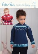 Peter Pan Childrens Sweater & Shoulder Warmer Knitting Pattern 1221  DK