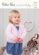 Peter Pan Baby Cardigan Merino Baby Knitting Pattern 1226  4 Ply
