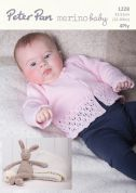Peter Pan Baby Cardigan, Gilet & Shawl Merino Baby Knitting Pattern 1228  4 Ply