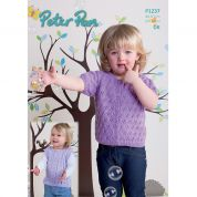 Peter Pan Childrens Top & Cardigan Knitting Pattern 1237  DK