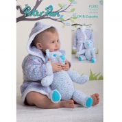 Peter Pan Baby Dressing Gown & Teddy Toy Knitting Pattern 1242  DK
