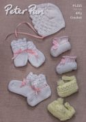 Peter Pan Baby Bonnet, Booties & Mittens Crochet Pattern 1255  4 Ply