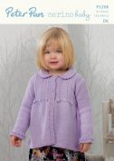 Peter Pan Childrens Swing Cardigan Merino Baby Knitting Pattern 1258  DK