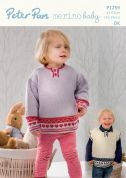 Peter Pan Childrens Sweater & Slipover Merino Baby Knitting Pattern 1259  DK