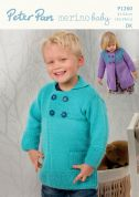 Peter Pan Childrens Coats Merino Baby Knitting Pattern 1260  DK
