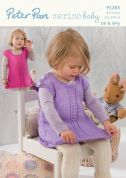 Peter Pan Childrens Pinafore Dress & Leggings Merino Baby Knitting Pattern 1263  4 Ply, DK
