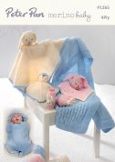 Peter Pan Baby Swaddle Blanket, Comforters & Bunny Slippers Merino Baby Knitting Pattern 1265  4 Ply