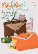 Peter Pan Animal Book Bags, Pencil Case, Phone Cover & Owl Toy Knitting Pattern 1267  DK