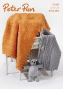 Peter Pan Baby Tortoise Blanket, Teddy Bear & Shawl Knitting Pattern 1287  4 Ply, DK