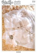 Peter Pan Baby Matinee Coat, Bonnet, Booties, Mittens & Shawl Knitting Pattern 753  DK
