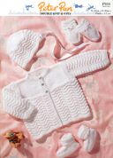 Peter Pan Baby Premature Matinee Coat, Bonnet, Booties & Mittens Knitting Pattern 844  4 Ply, DK