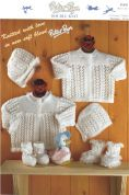 Peter Pan Baby Matinee Coat, Bonnet & Booties Knitting Pattern 891  DK