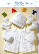 Peter Pan Baby Matinee Coat, Bonnet, Booties & Mittens Knitting Pattern 956  DK