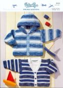 Peter Pan Baby Hooded & V Neck Jacket Knitting Pattern 959  DK