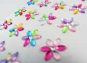 Stick-On Self Adhesive Diamante Flowers  Assorted