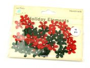 Christmas Paper Craft Flowers with Centre Pearls  Red & Green