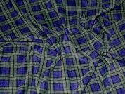Plaid Check Print Anti Pill Polar Fleece Fabric  Blue & Green
