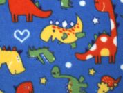 Dinosaur Print Anti Pill Polar Fleece Fabric  Multicoloured