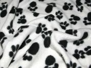 Animal Paw Print Anti Pill Polar Fleece Fabric  Black & Ivory