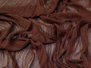 Lady McElroy Lurex Crinkle Chiffon Fabric  Conker Brown