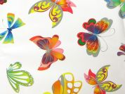 Butterfly Print Plastic Coated PVC Table Protector Fabric  White