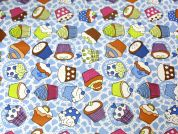 Cupcakes Print Plastic Coated PVC Table Protector Fabric