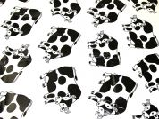 Stretch Jersey Cow Print Plastic Coated PVC Table Protector Fabric  Black & White