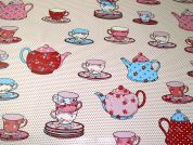 Tea Time Print Plastic Coated PVC Table Protector Fabric  Pink