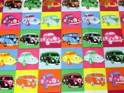 Cars & Campervans Print Plastic Coated PVC Table Protector Fabric  Multicoloured