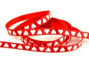 Berisford White Love Hearts Print Ribbon