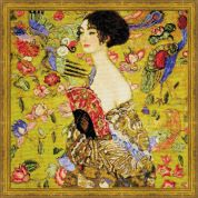 RIOLIS Counted Cross Stitch Kit G Klimt Lady with Fan