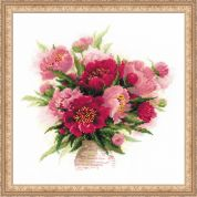 Riolis Counted Cross Stitch Kit Peonies in a Vase
