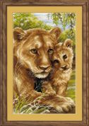RIOLIS Counted Cross Stitch Kit Lioness with Cub