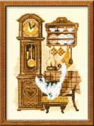RIOLIS Counted Cross Stitch Kit Cat With Clock