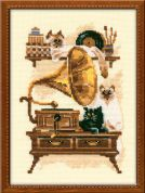 RIOLIS Counted Cross Stitch Kit Cat with Gramophone