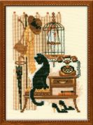 Riolis Counted Cross Stitch Kit Cat with Telephone