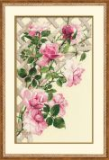 RIOLIS Counted Cross Stitch Kit Pink Roses on Lattice