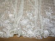 Raine Vertical Beaded Border Couture Bridal Lace Fabric  Ivory