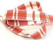 25mm Rustic Woven Check Christmas Ribbon 15m  Red White Beige