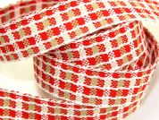 25mm Woven Check Christmas Ribbon 15m  Red White Beige