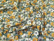 Floral Cotton Lawn Fabric  Mustard & Green