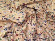 Floral Cotton Lawn Fabric  Tan